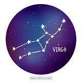 Virgo vector sign. Zodiacal constellation made of stars on space background.