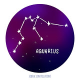 Aquarius vector sign. Zodiacal constellation made of stars on space background.