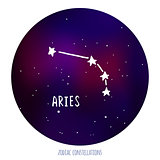 Aries vector sign. Zodiacal constellation made of stars on space background.