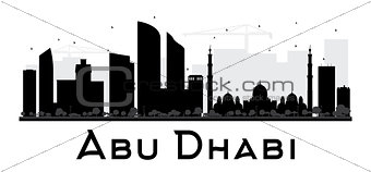 Abu Dhabi City skyline black and white silhouette.