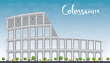 Colosseum in Rome with blue sky. Italy. Vector illustration.