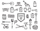 Collection of garden doodle sketch elements on white background.