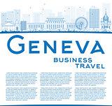 Outline Geneva skyline with blue landmarks and copy space.