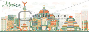 Abstract Mexico skyline with color landmarks.