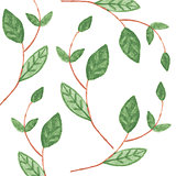 Pattern with Watercolor green leaves
