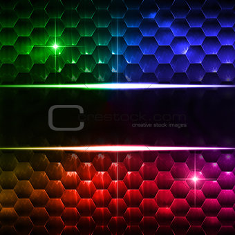 abstract multicolored hexagons background with text space