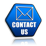 contact us envelope symbol in hexagon button