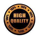 high quality 100 percentages in golden black circle label
