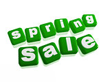 spring sale - text in green cubes
