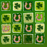 horseshoes and shamrocks in squares over green background