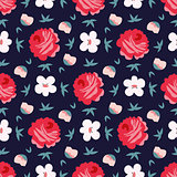 seamless vintage flower pattern vector