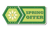 spring offer with flower  - retro green label