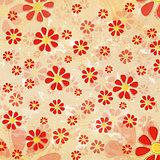vintage red flowers over old paper background