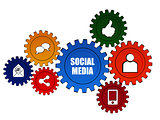 social media and it signs in color gears
