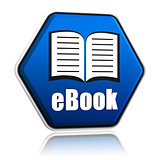 ebook and book sign in blue hexagon banner