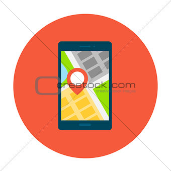 Smartphone with map on smartphone screen