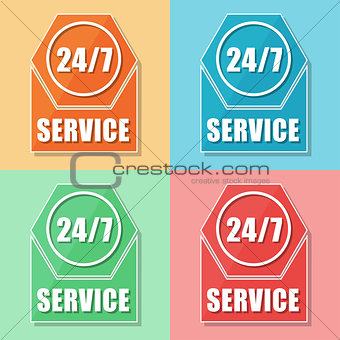 24/7 service, four colors web icons