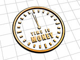 time is money in golden clock symbol