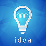 idea and light bulb sign over blue background, flat design