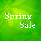 spring sale over green background with flowers