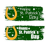 happy St. Patrick's day with horseshoe sign, green drawn banners