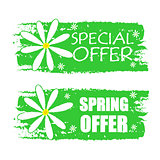 special and spring offer with flowers signs, green drawn labels