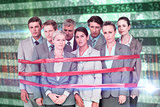 Composite image of upset business team fastened with adhesive tape