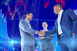 Composite image of business colleagues greeting each other