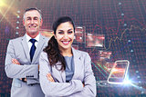 Composite image of  portrait of happy business people standing together