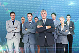 Composite image of business team standing arms crossed