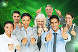 Composite image of happy business people with thumbs up looking at camera