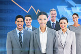 Composite image of young business people in office