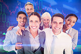 Composite image of happy business people looking at camera