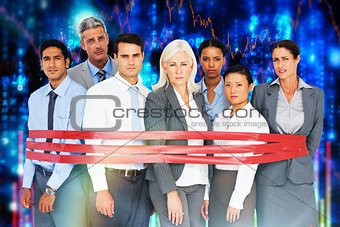 Composite image of unhappy business people surrounding by red strip