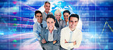 Composite image of smiling business people looking at camera with arms crossed