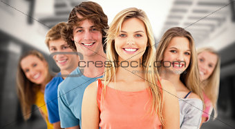 Composite image of group standing behind one another at varied angles