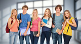 Composite image of smiling students wearing backpacks and holding books in their hands