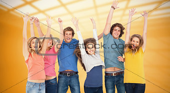 Composite image of celebrating friends jumping in the air