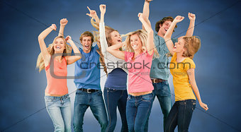 Composite image of friends partying together while laughing and smiling