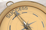 Composite image of compass pointing to success