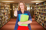 Composite image of smiling student holding notebook and file