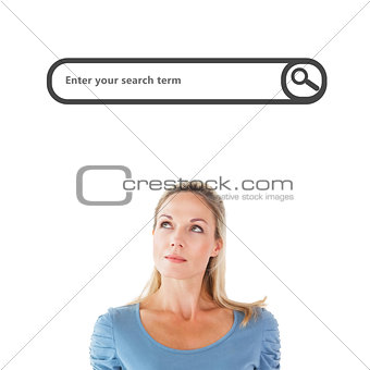 Composite image of thinking pretty blonde looking up
