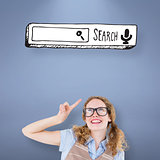 Composite image of geeky hipster woman pointing up