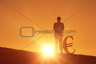 Composite image of silhouette beside euro symbol
