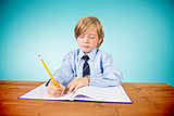 Composite image of cute pupil writing