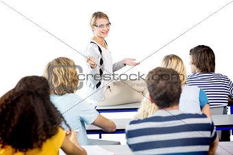 Teacher teaching students in class