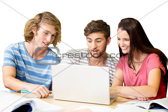 College students using laptop in library