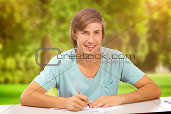 Composite image of student working