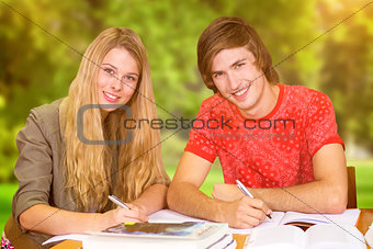 Composite image of students studying