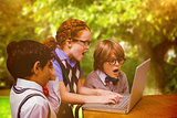 Composite image of pupils using laptop